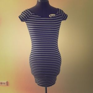 Navy Blue and White Stripe Dress